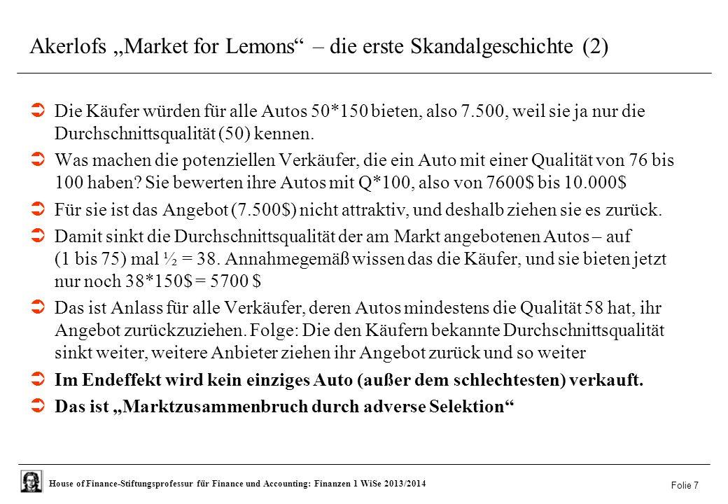 """Akerlofs """"Market for Lemons – die erste Skandalgeschichte (2)"""
