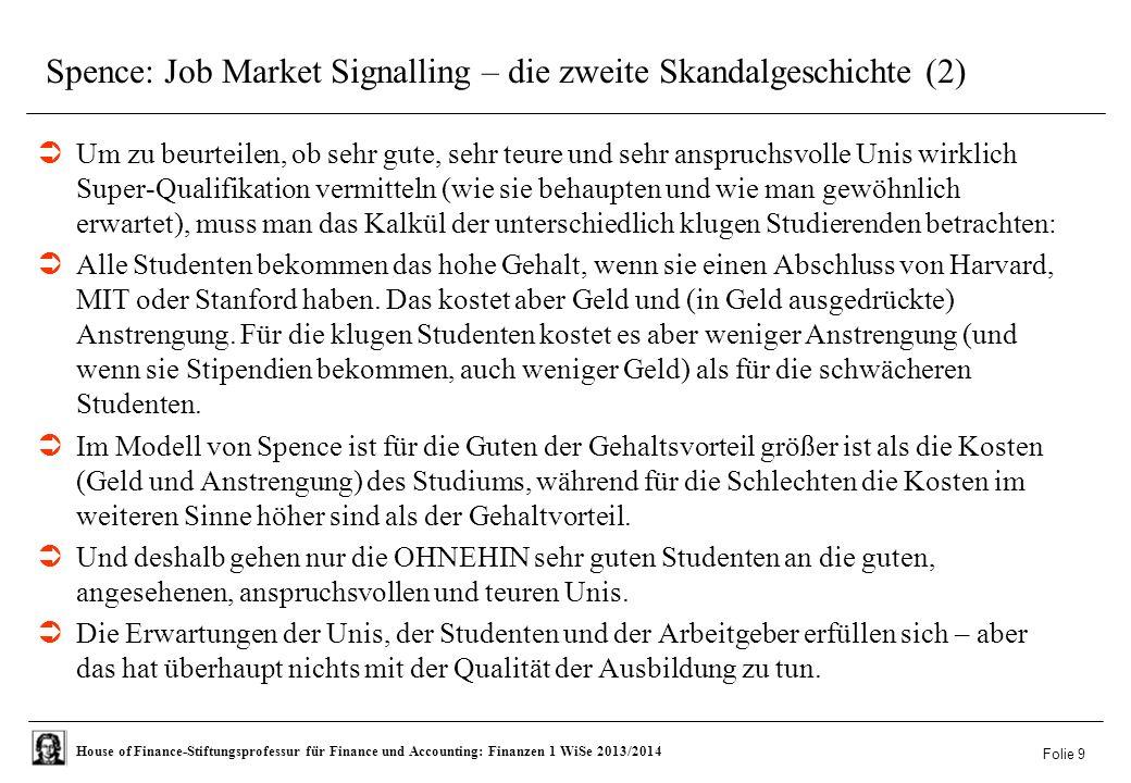 Spence: Job Market Signalling – die zweite Skandalgeschichte (2)