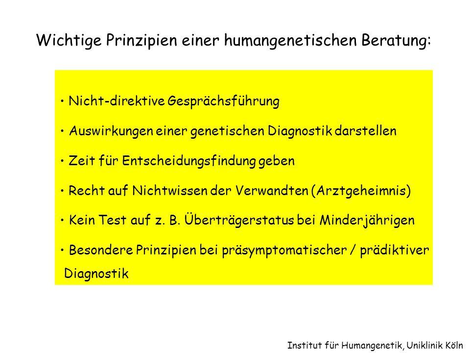 Wichtige Prinzipien einer humangenetischen Beratung: