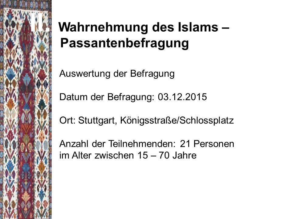 Wahrnehmung des Islams – Passantenbefragung