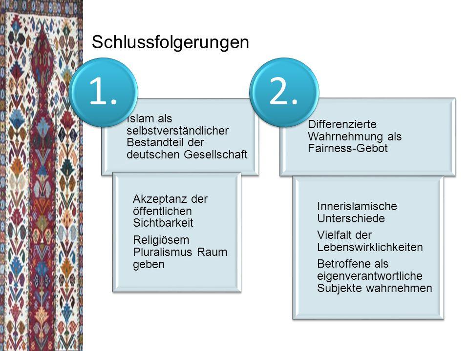 Schlussfolgerungen Islam als selbstverständlicher Bestandteil der deutschen Gesellschaft. Akzeptanz der öffentlichen Sichtbarkeit.