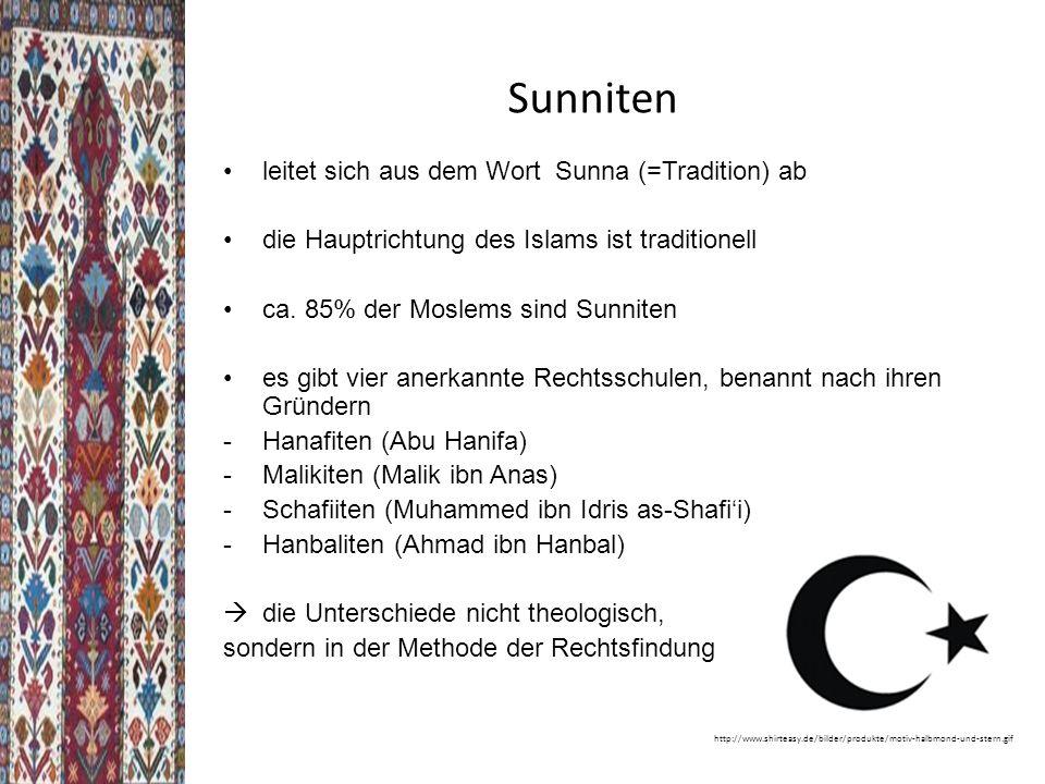 Sunniten leitet sich aus dem Wort Sunna (=Tradition) ab