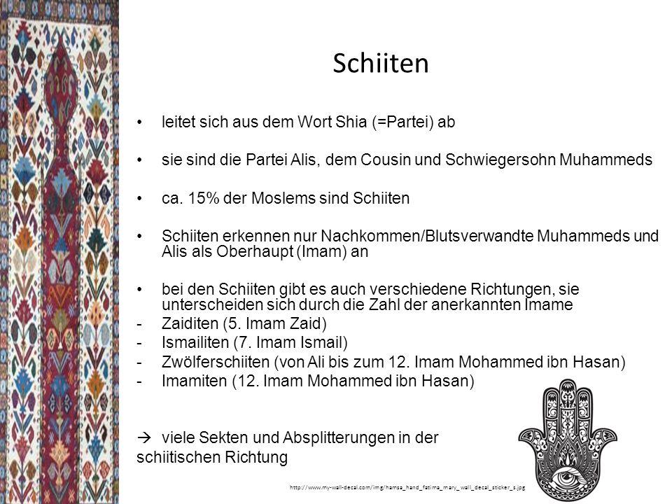Schiiten leitet sich aus dem Wort Shia (=Partei) ab
