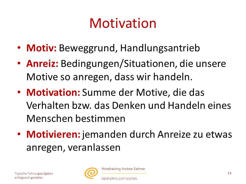 Motivation Motiv: Beweggrund, Handlungsantrieb