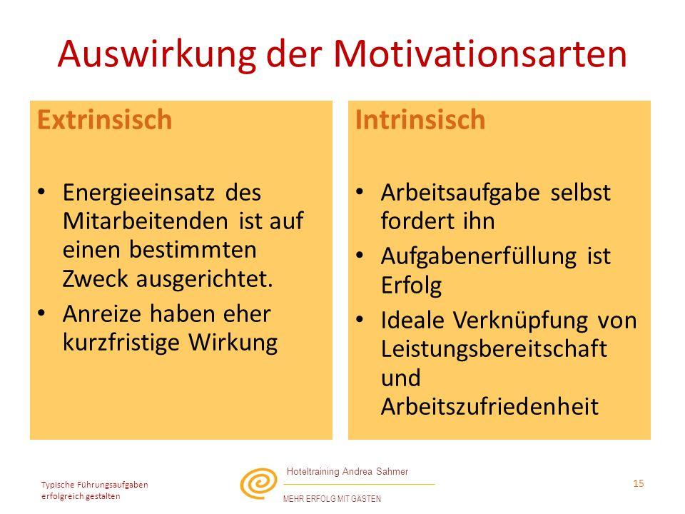 Auswirkung der Motivationsarten