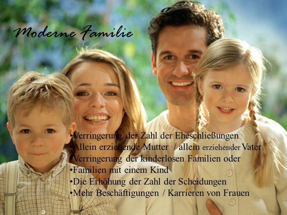 Moderne Familie Verringerung der Zahl der Eheschließungen