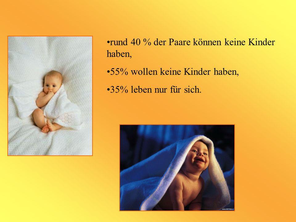 rund 40 % der Paare können keine Kinder haben,