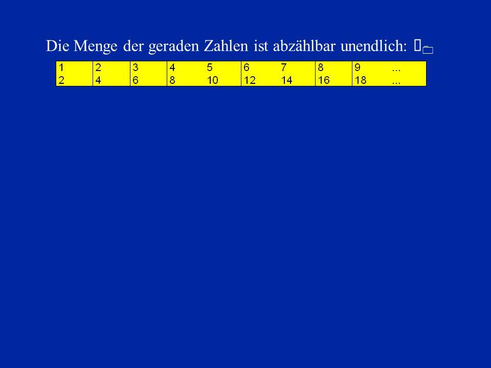 Die Menge der geraden Zahlen ist abzählbar unendlich: À0