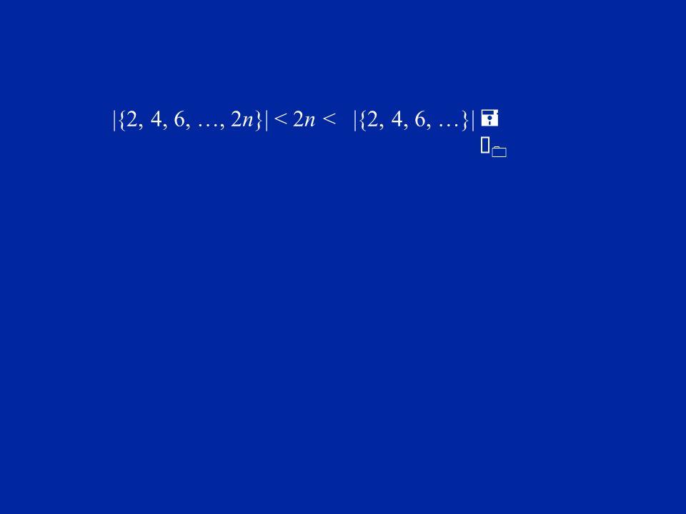 |{2, 4, 6, …, 2n}| < 2n < |{2, 4, 6, …}| = À0