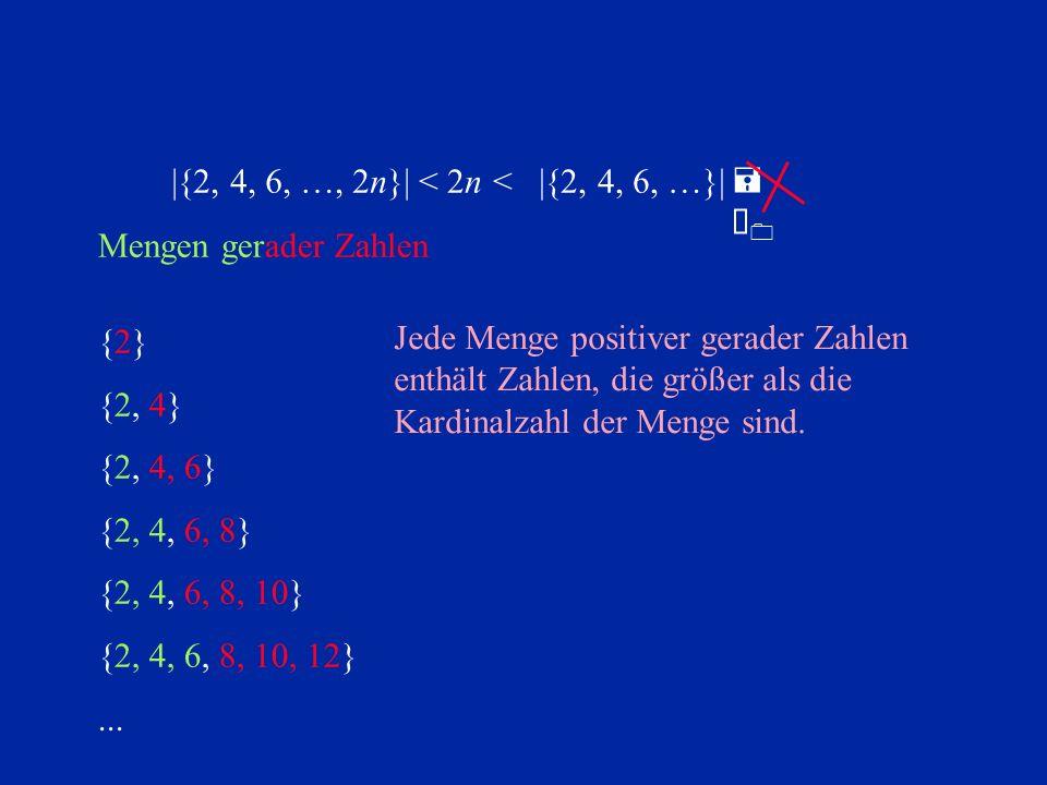 |{2, 4, 6, …, 2n}| < 2n. < |{2, 4, 6, …}| = À0. Mengen gerader Zahlen. {2} {2, 4} {2, 4, 6}