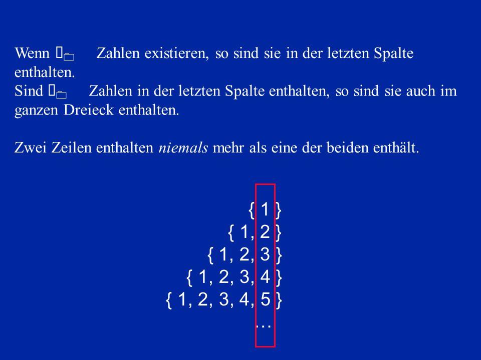 Wenn À0 Zahlen existieren, so sind sie in der letzten Spalte enthalten.