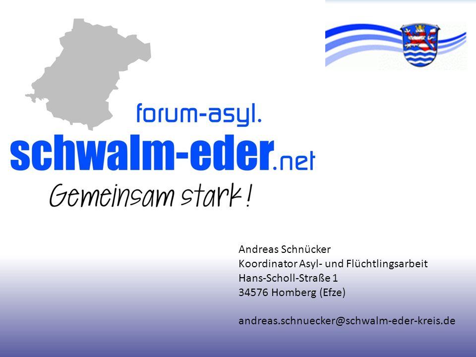 Andreas Schnücker Koordinator Asyl- und Flüchtlingsarbeit. Hans-Scholl-Straße 1. 34576 Homberg (Efze)