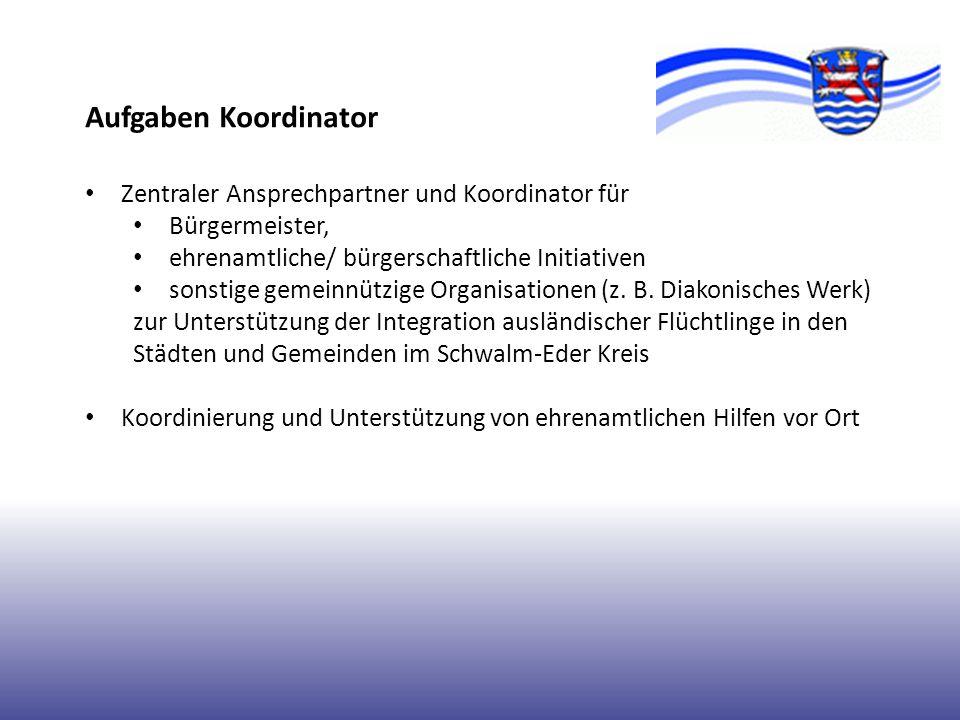 Aufgaben Koordinator Zentraler Ansprechpartner und Koordinator für