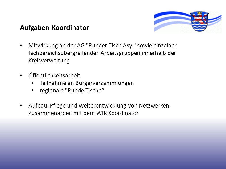 Aufgaben Koordinator Mitwirkung an der AG Runder Tisch Asyl sowie einzelner fachbereichsübergreifender Arbeitsgruppen innerhalb der Kreisverwaltung.