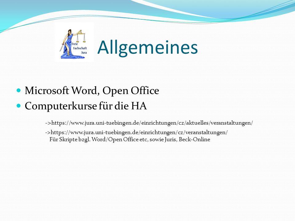 Allgemeines Microsoft Word, Open Office Computerkurse für die HA