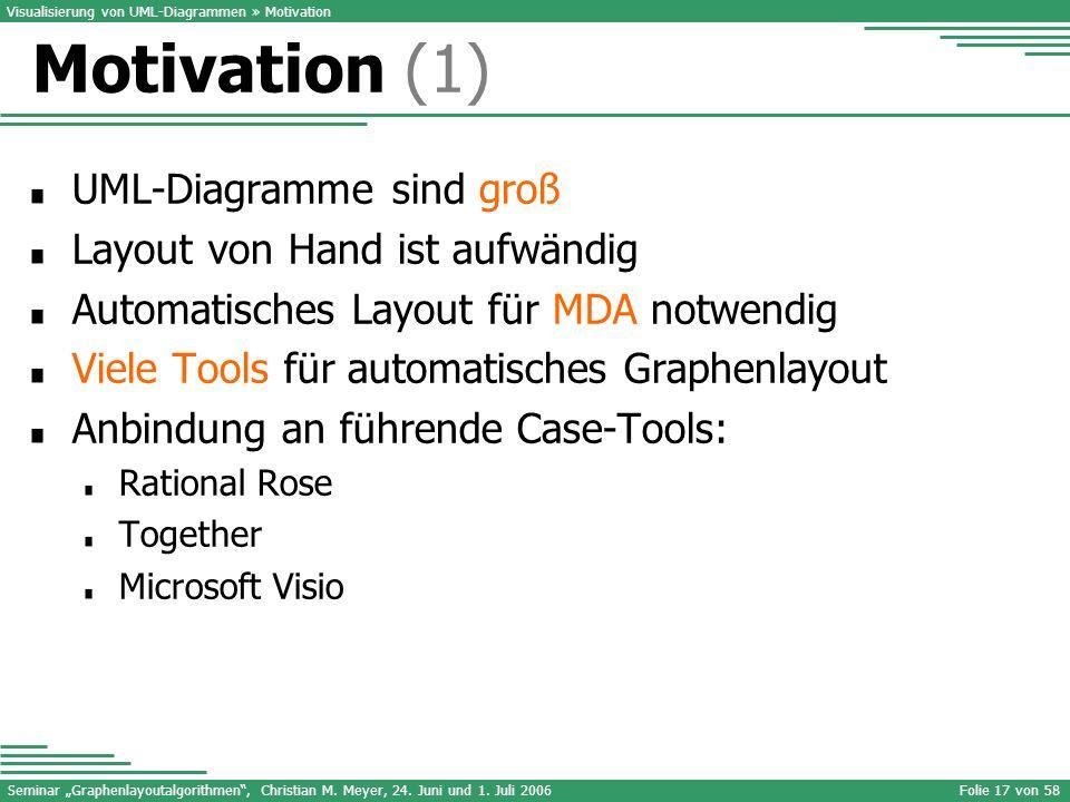 Motivation (1) UML-Diagramme sind groß Layout von Hand ist aufwändig