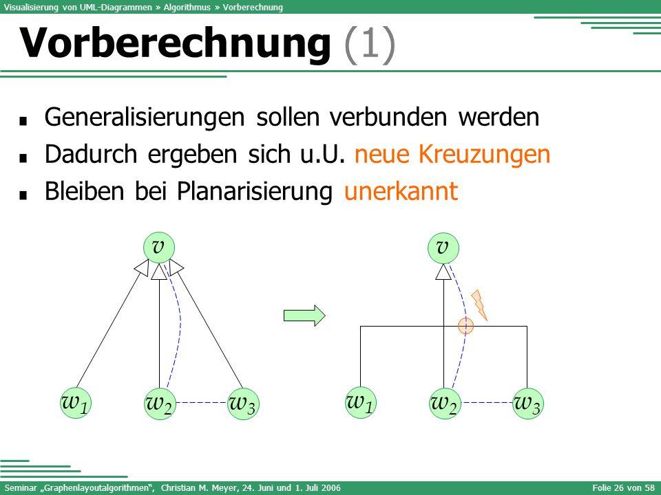 Vorberechnung (1) Generalisierungen sollen verbunden werden