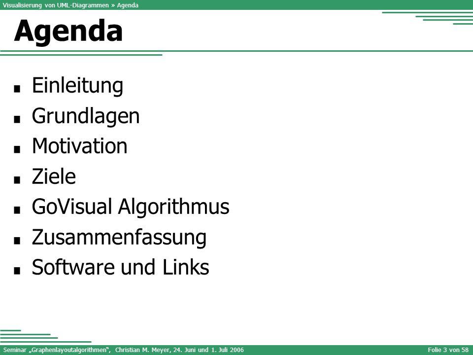 Agenda Einleitung Grundlagen Motivation Ziele GoVisual Algorithmus