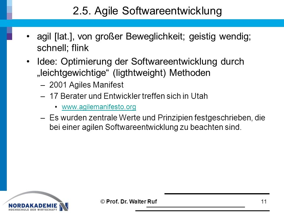 2.5. Agile Softwareentwicklung