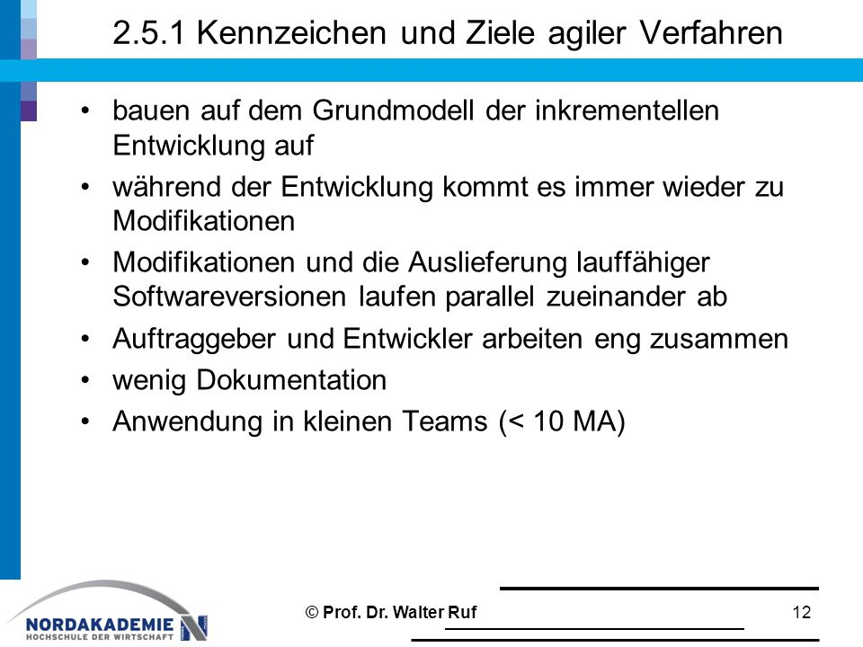 2.5.1 Kennzeichen und Ziele agiler Verfahren