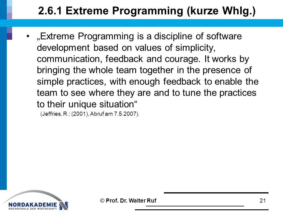 2.6.1 Extreme Programming (kurze Whlg.)