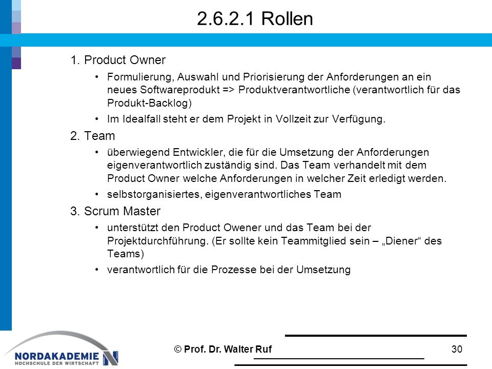2.6.2.1 Rollen 1. Product Owner 2. Team 3. Scrum Master