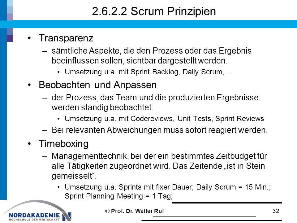 2.6.2.2 Scrum Prinzipien Transparenz Beobachten und Anpassen