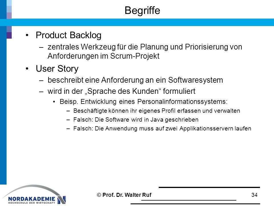 Begriffe Product Backlog User Story