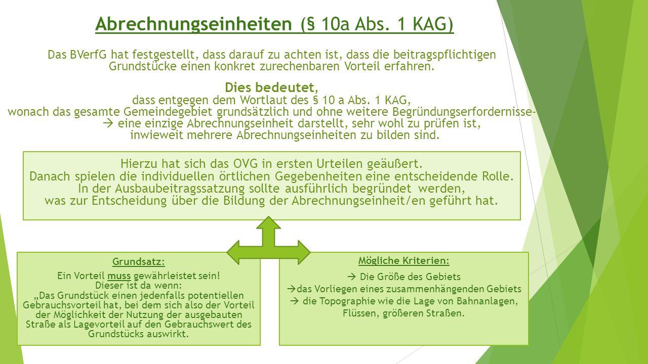 Abrechnungseinheiten (§ 10a Abs. 1 KAG)