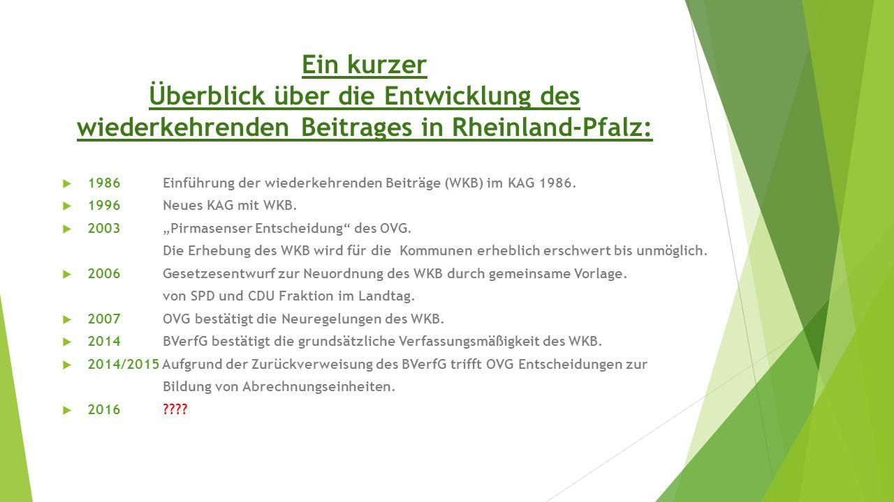 Ein kurzer Überblick über die Entwicklung des wiederkehrenden Beitrages in Rheinland-Pfalz: