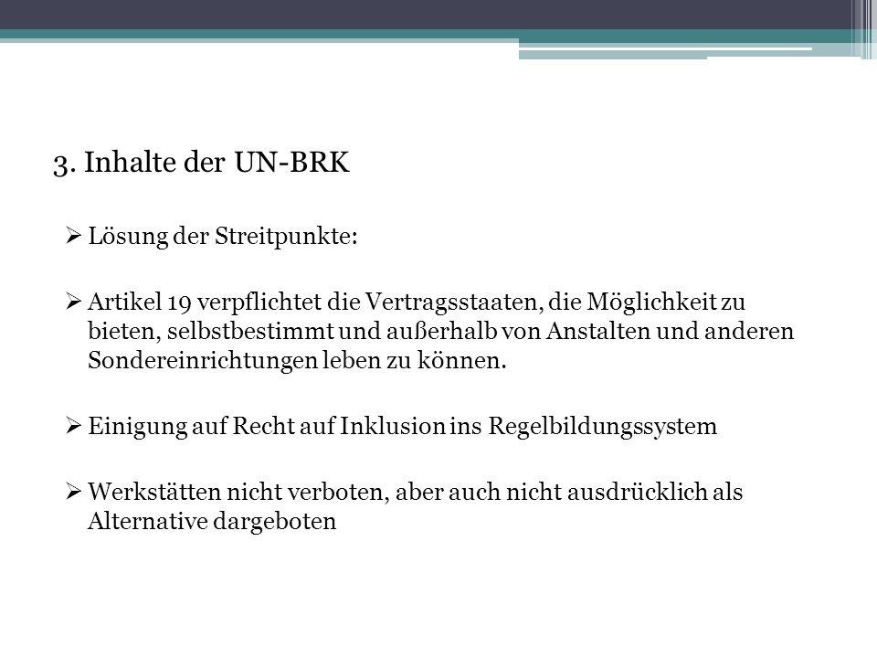 3. Inhalte der UN-BRK Lösung der Streitpunkte: