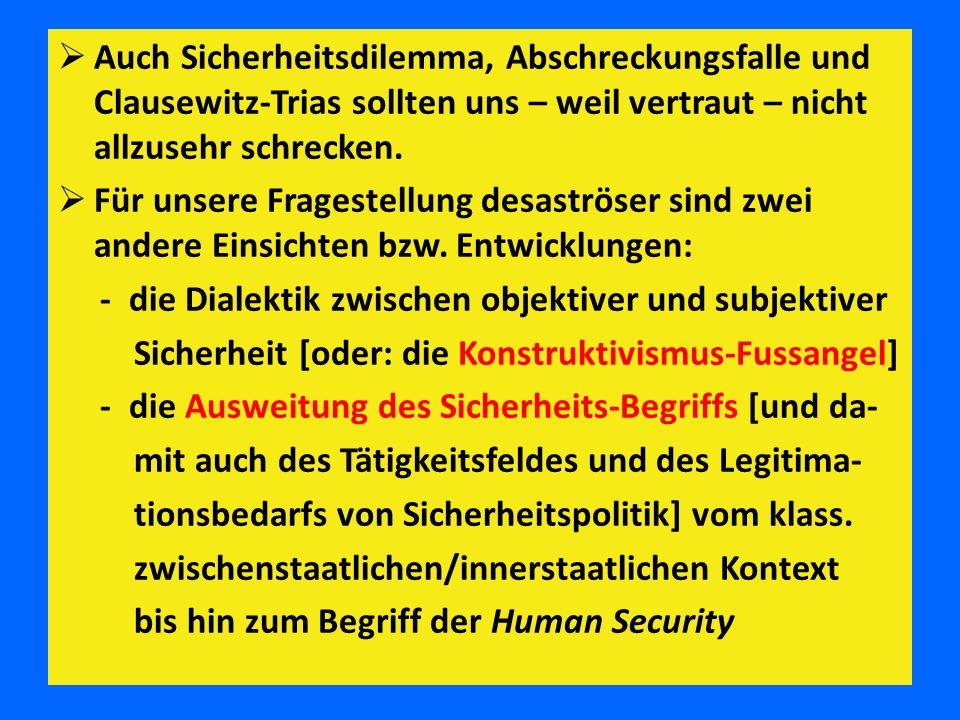 Auch Sicherheitsdilemma, Abschreckungsfalle und Clausewitz-Trias sollten uns – weil vertraut – nicht allzusehr schrecken.