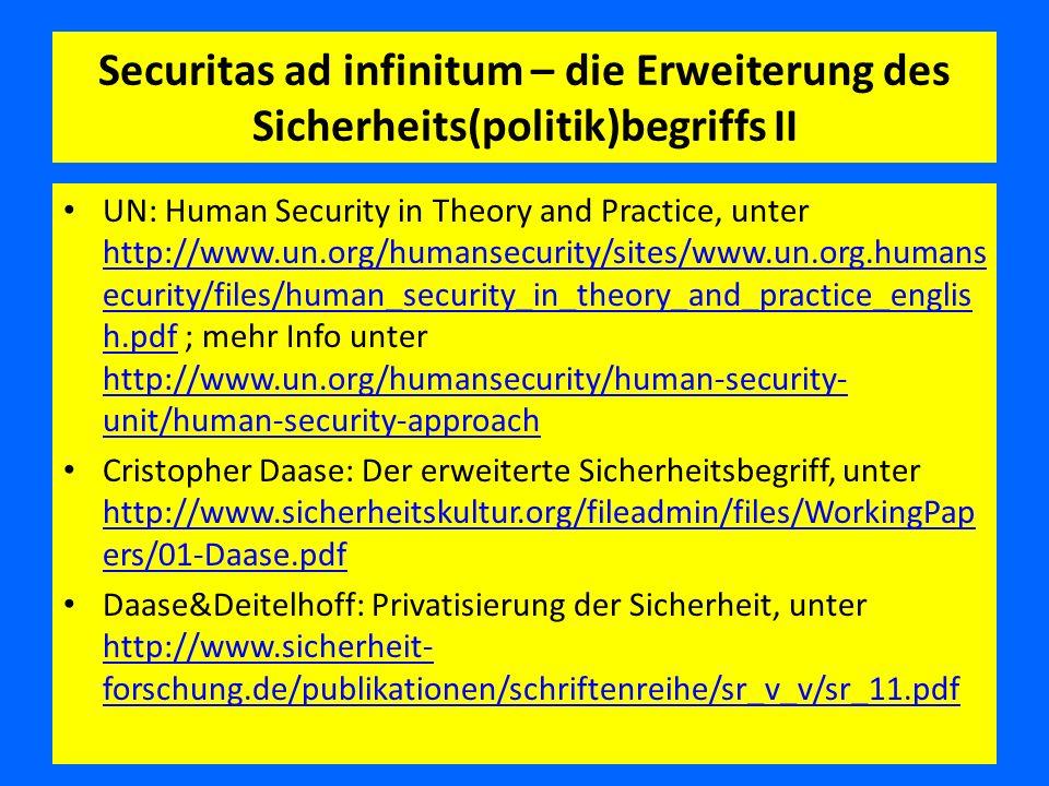 Securitas ad infinitum – die Erweiterung des Sicherheits(politik)begriffs II