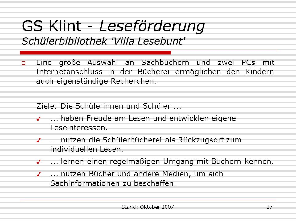 GS Klint - Leseförderung Schülerbibliothek Villa Lesebunt