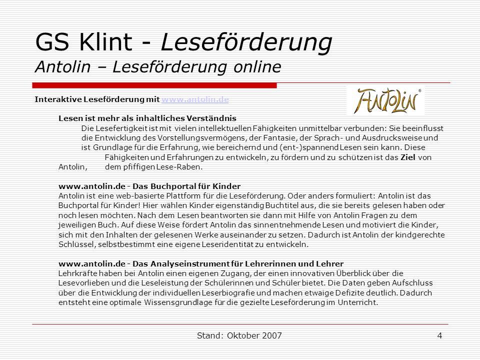 GS Klint - Leseförderung Antolin – Leseförderung online