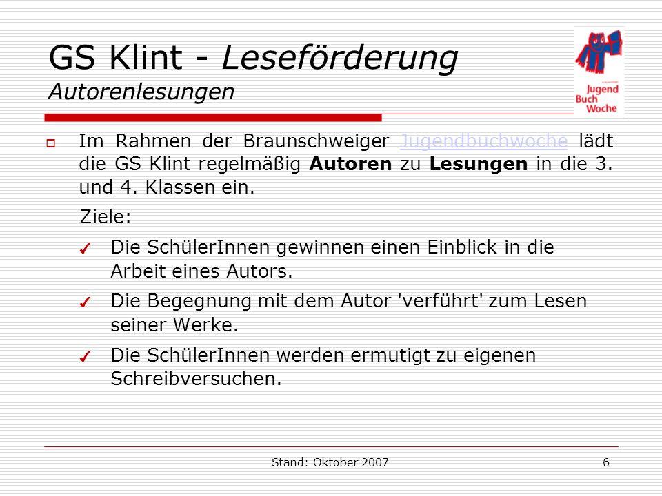 GS Klint - Leseförderung Autorenlesungen