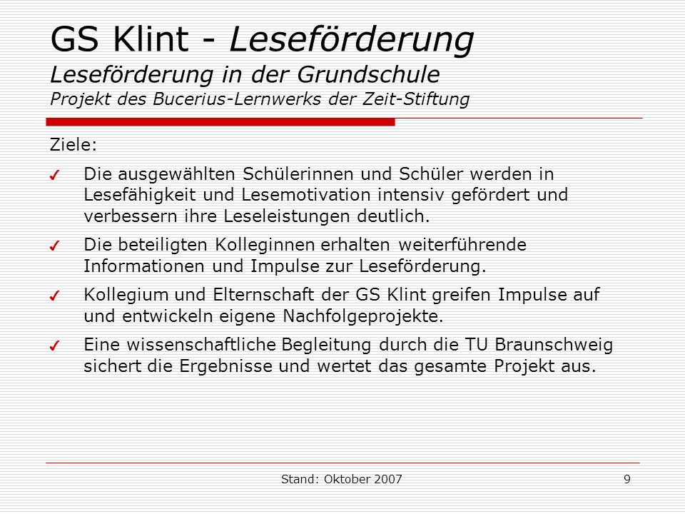 GS Klint - Leseförderung Leseförderung in der Grundschule Projekt des Bucerius-Lernwerks der Zeit-Stiftung