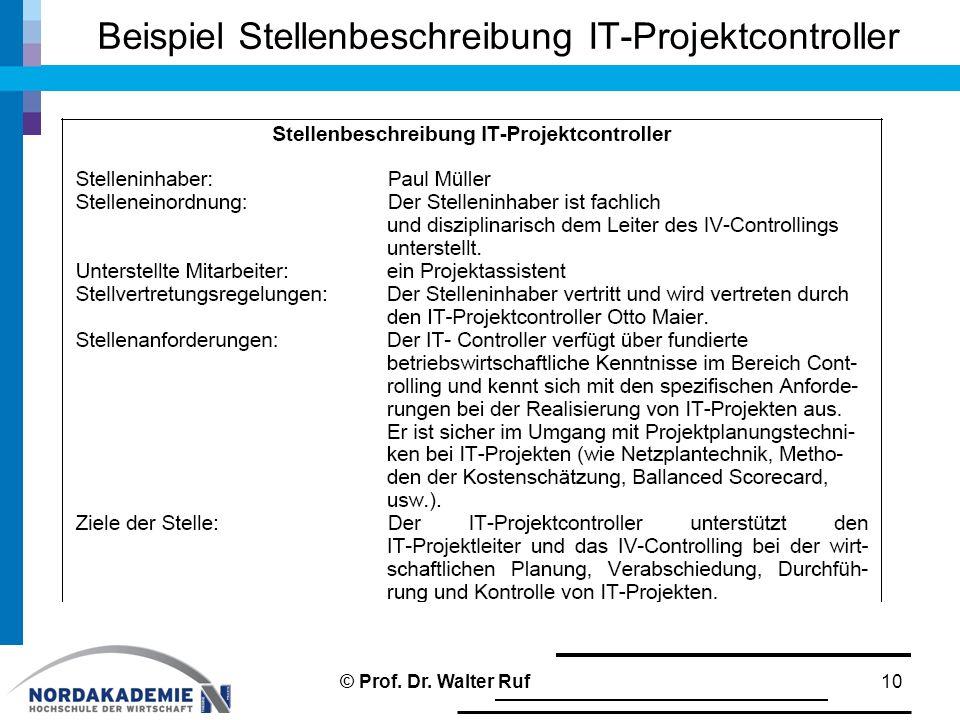 Beispiel Stellenbeschreibung IT-Projektcontroller