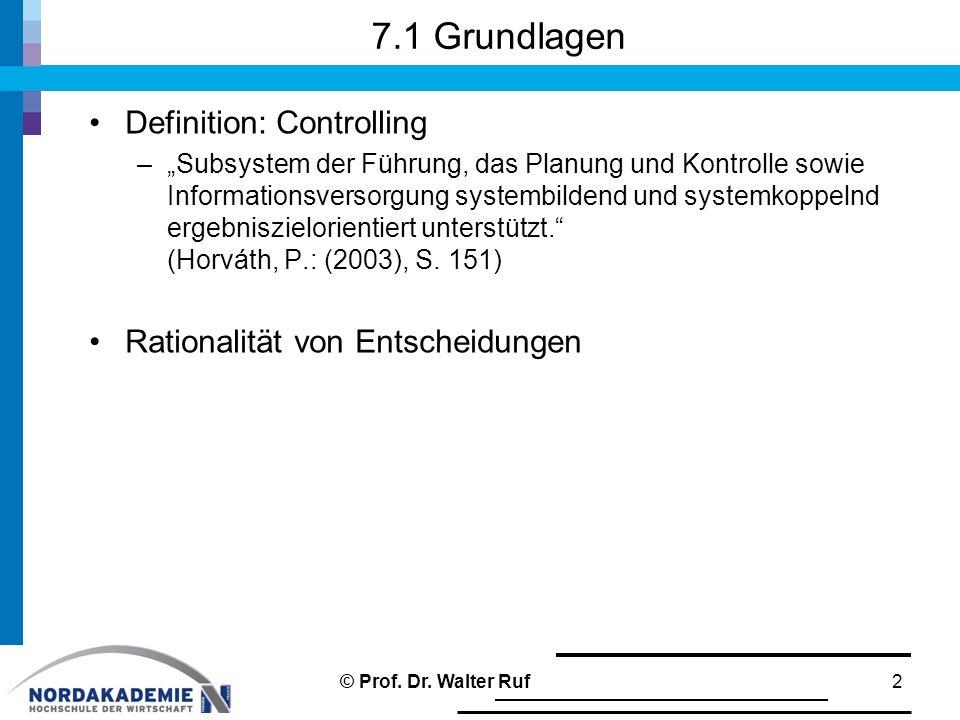 7.1 Grundlagen Definition: Controlling Rationalität von Entscheidungen