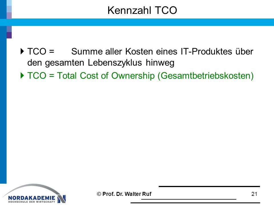Kennzahl TCO TCO = Summe aller Kosten eines IT-Produktes über den gesamten Lebenszyklus hinweg.