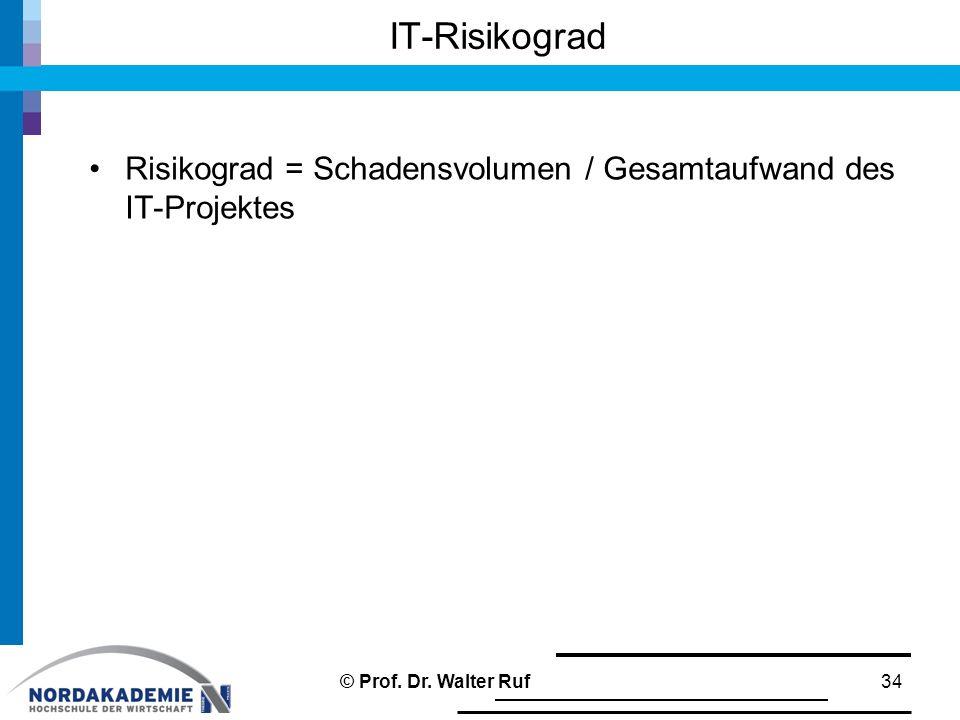 IT-Risikograd Risikograd = Schadensvolumen / Gesamtaufwand des IT-Projektes © Prof. Dr. Walter Ruf