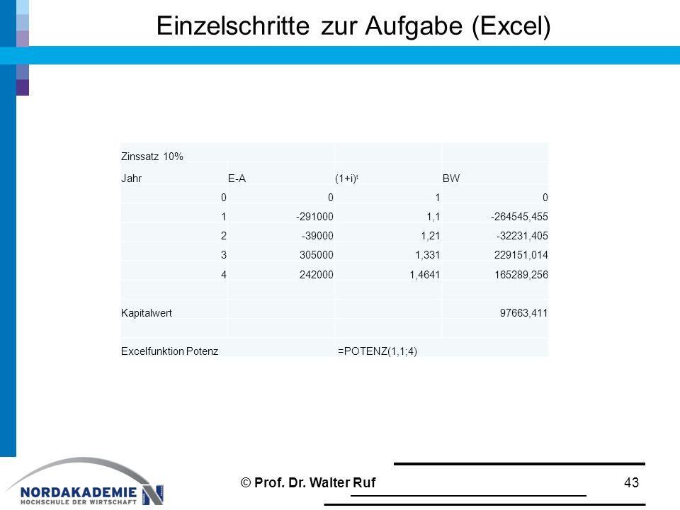 Einzelschritte zur Aufgabe (Excel)