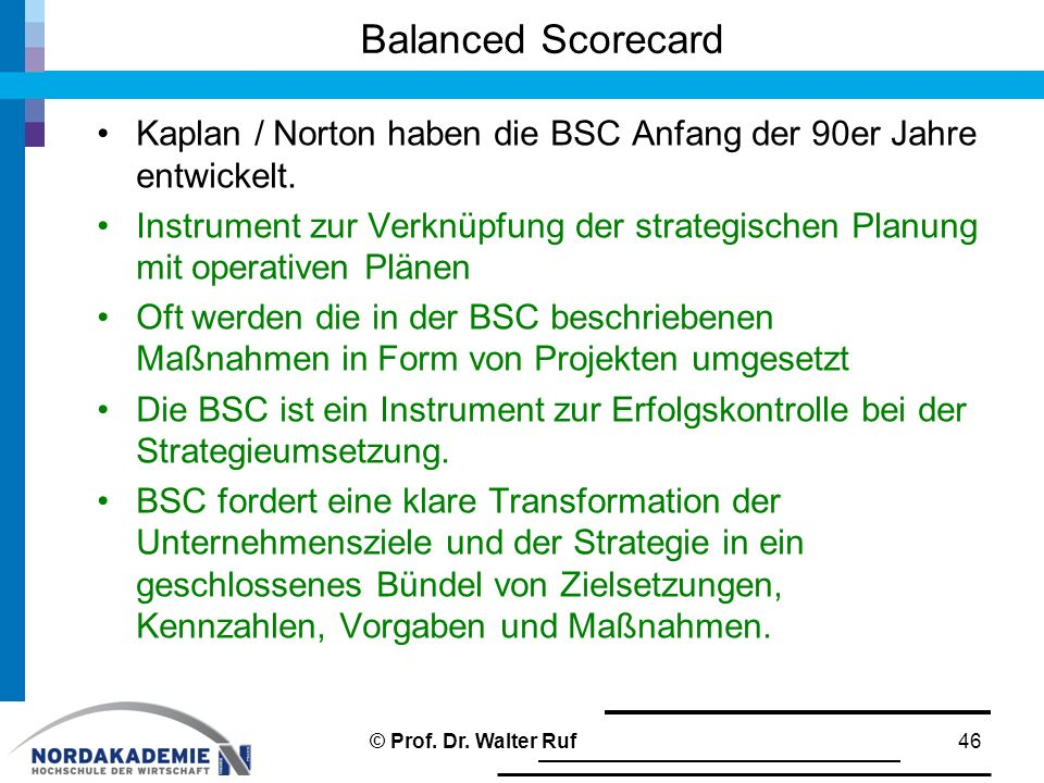 Balanced Scorecard Kaplan / Norton haben die BSC Anfang der 90er Jahre entwickelt.