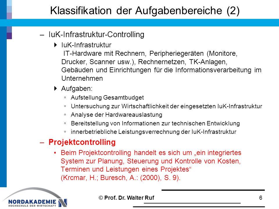 Klassifikation der Aufgabenbereiche (2)