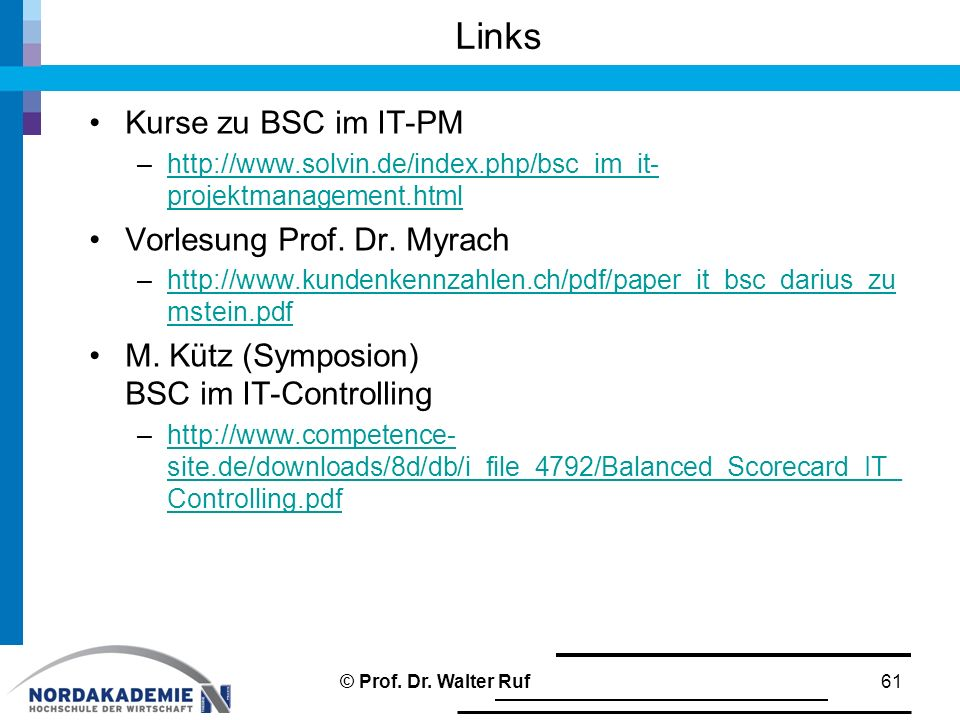 Links Kurse zu BSC im IT-PM Vorlesung Prof. Dr. Myrach