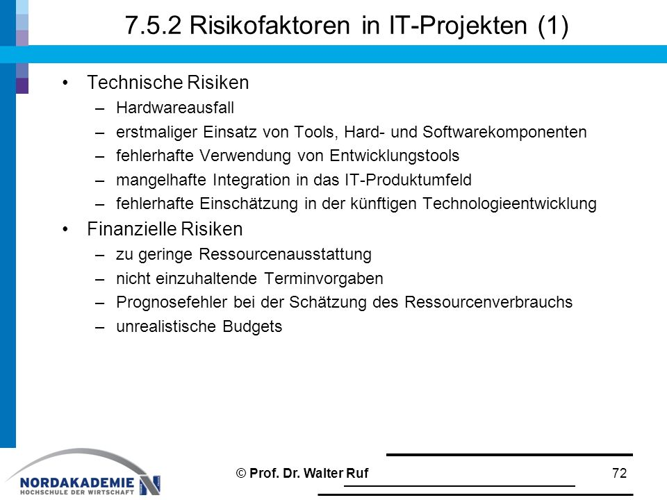 7.5.2 Risikofaktoren in IT-Projekten (1)