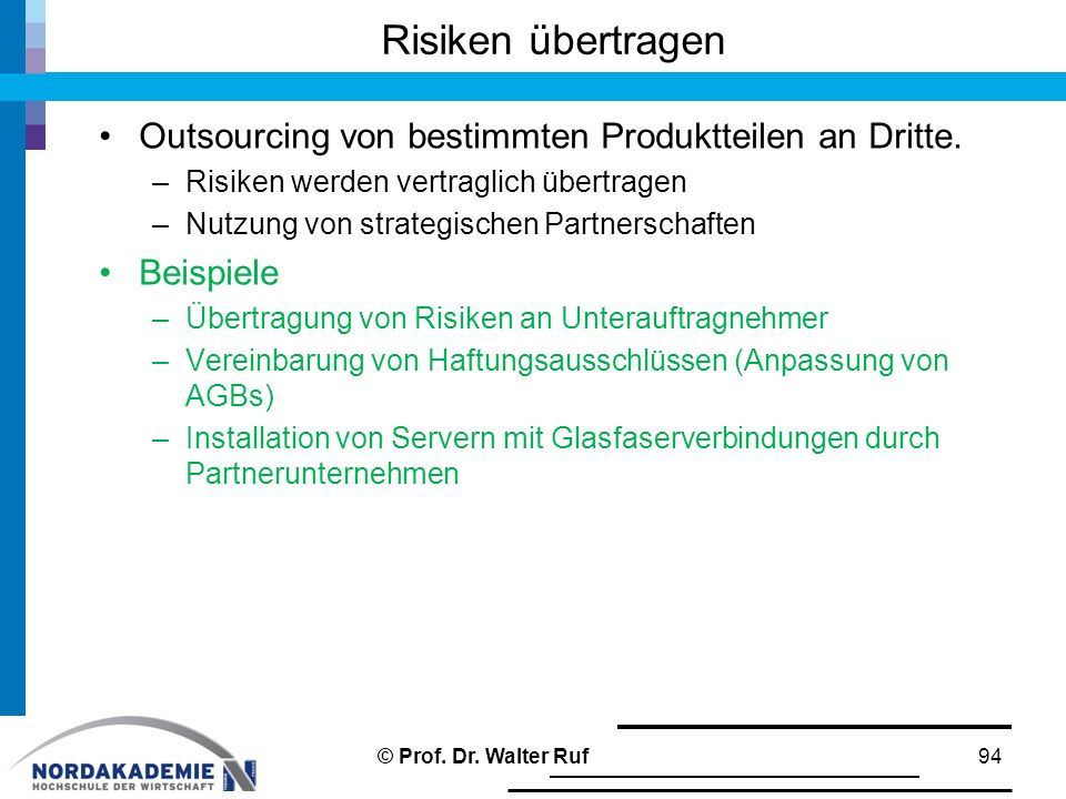 Risiken übertragen Outsourcing von bestimmten Produktteilen an Dritte.