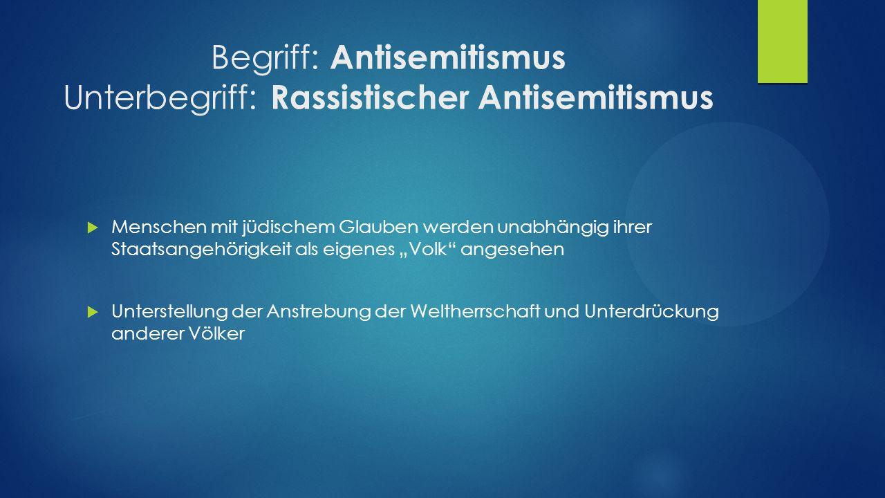 Begriff: Antisemitismus Unterbegriff: Rassistischer Antisemitismus