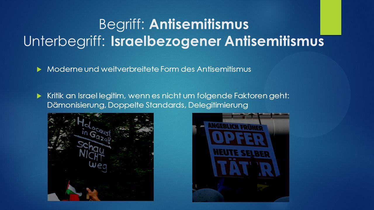 Begriff: Antisemitismus Unterbegriff: Israelbezogener Antisemitismus