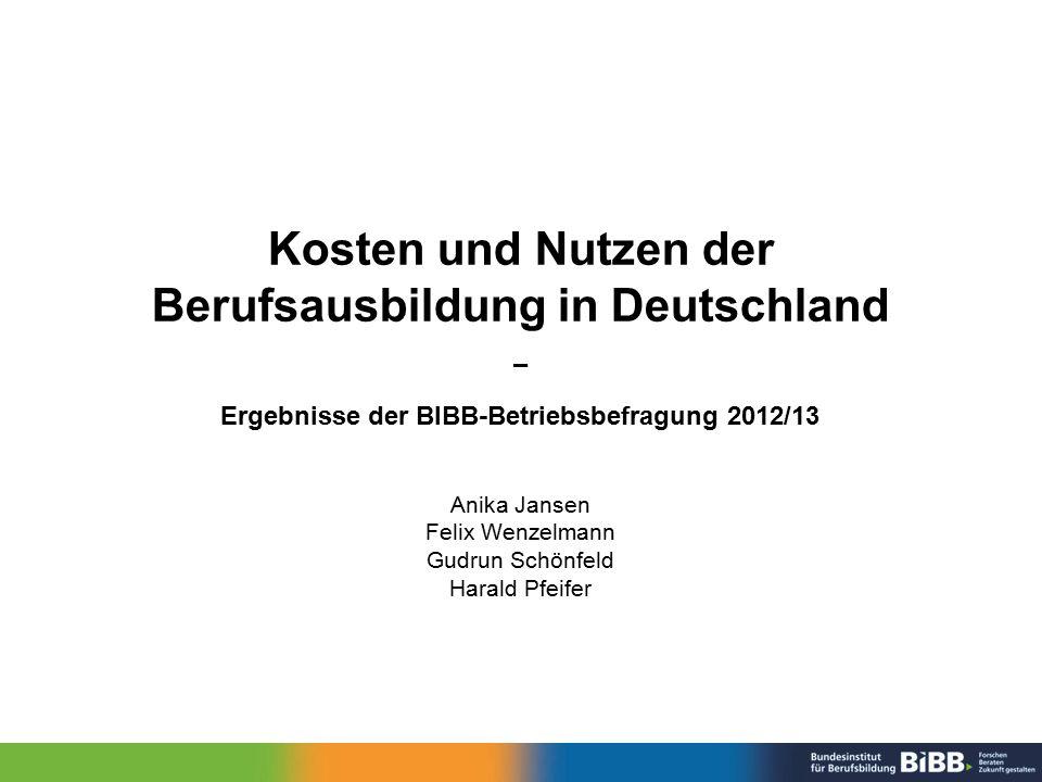 Kosten und Nutzen der Berufsausbildung in Deutschland